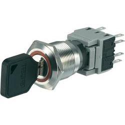 Spínač s klíčem LAS1-BGQ-22Y/32, 2x 90 °, 19 mm, 250 V/AC, 5 A, 2x zap/vyp/(zap)
