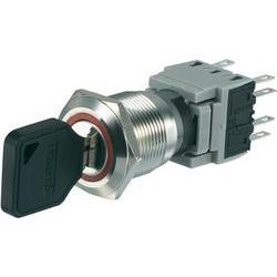 Spínač s klíčem LAS1-BGQ-22Y/33, 1x 90 °, 19 mm, 250 V/AC, 5 A, 2x (zap)/vyp/(zap)