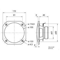 Saunový reproduktor Visaton FRS 10 WP, 8 Ω, 90 dB, 25/50 W, černá