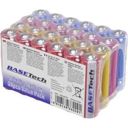 Tužková baterie AA alkalicko-manganová Basetech 2650 mAh, 1.5 V, 24 ks