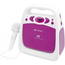 Dětský CD přehrávač SoundMaster KCD 50 AUX, CD, FM, USB vč. karaoke, včetně mikrofonu, růžová